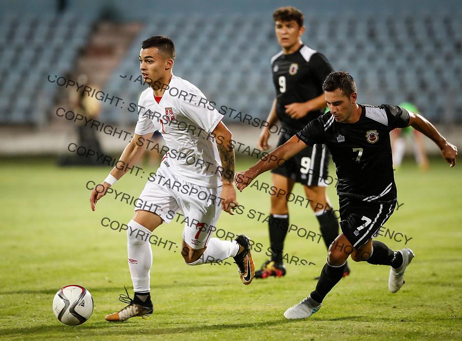 Fudbal Soccer<br /> Reprezentacija Srbije U21<br /> Kvalifikacije za U21 EURO 2019<br /> Srbija U21 v Gibraltar U21<br /> Nemanja Radonjic (L) and Scott Ballantine<br /> Jagodina, 09.01.2017.<br /> foto: Srdjan Stevanovic/Starsportphoto &copy;