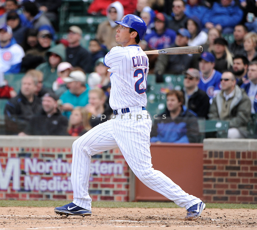 TYLER COLVIN, of the Chicago Cubs , in actions during the Cubs game against the Arizona Diamondbacks at Wrigley FIeld on April 5, 2011.  The Cubs won the game beating the Diamondbacks 6-5.