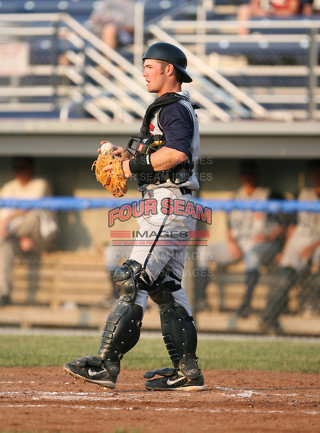 2007:  Nick Stillwagon of the State College Spikes catching during a game vs. the Batavia Muckdogs in New York-Penn League baseball action.  Photo By Mike Janes/Four Seam Images
