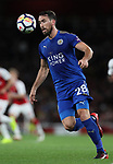 Leicester's Christian Fuchs in action during the premier league match at the Emirates Stadium, London. Picture date 11th August 2017. Picture credit should read: David Klein/Sportimage