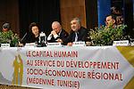 "DJERBA - TUNISIA - 13 March 2012 -- European Training Foundation (ETF) / Tunisian Ministry of Vocational Training and Employment (MFPE) Project Launch -  ""Human Capital for Regional Socio-Economic Development (Medenine, Tunisia)"". -- (L) Madlen SERBAN, ETF Director, (2nd L) Luc VANDENBRANDE, Comite Civex, (2nd R), Abdelaziz HALLEB, UTICA nationale, (R) Mondher MERAI, Lindedata, Tunis -- PHOTO: Lindsay MACKENZIE / EUP-IMAGES."