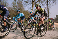 Sarah Roy (AUS/Mitchelton-Scott) & Letizia Paternoster (ITA/Trek-Segafredo) on the Plugstreets, <br /> <br /> 8th Gent-Wevelgem In Flanders Fields 2019 <br /> Elite Womens Race (1.WWT)<br /> <br /> One day race from Ypres (Ieper) to Wevelgem (137km)<br /> ©JojoHarper for Kramon