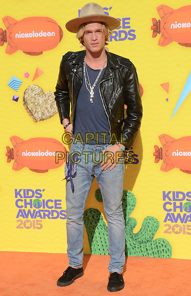 INGLEWOOD, CA - MARCH 28: Cody Simpson arrives at the 28th Annual Nickelodeon Kids Choice Awards at the Forum on March 28, 2015 in Inglewood, California. <br /> CAP/MPI/PGTW<br /> &copy;PGTW/MPI/Capital Pictures