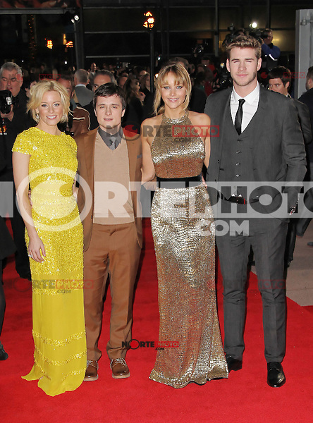 LONDON - MARCH 14: Elizabeth Banks, Josh Hutcherson, Jennifer Lawrence; Liam Hemsworth attend the Euorpean Film Premiere of 'The Hunger Games' at Cineworld, The O² Arena, London, UK. March 14, 2012. (Photo by Richard Goldschmidt)