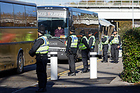Coaches with Cardiff supporters arrive prior to the Sky Bet Championship match between Swansea City and Cardiff City at the Liberty Stadium, Swansea, Wales, UK. Sunday 27 October 2019