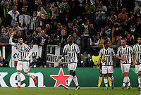 Calcio, Champions League: Gruppo D - Juventus vs Siviglia. Torino, Juventus Stadium, 30 settembre 2015.  <br /> Juventus&rsquo; Alvaro Morata, left, celebrates with teammates after scoring during the Group D Champions League football match between Juventus and Sevilla at Turin's Juventus Stadium, 30 September 2015.<br /> UPDATE IMAGES PRESS/Isabella Bonotto