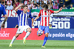 Deportivo Alaves's Krsticic and Atletico de Madrid's Tiago Mendes during the match of La Liga Santander between Atletico de Madrid and Deportivo Alaves at Vicente Calderon Stadium. August 21, 2016. (ALTERPHOTOS/Rodrigo Jimenez)