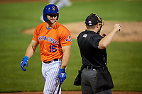 Syracuse Mets Tim Tebow (15) questions a strike three call with home plate umpire John Mang during an International League game against the Charlotte Knights on June 11, 2019 at NBT Bank Stadium in Syracuse, New York.  Syracuse defeated Charlotte 15-8.  (Mike Janes/Four Seam Images)