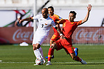 Edgar Bernhardt of Kyrgyz Republic (L) fights for the ball with Wu Xi of China (R) during the AFC Asian Cup UAE 2019 Group C match between China (CHN) and Kyrgyz Republic (KGZ) at Khalifa Bin Zayed Stadium on 07 January 2019 in Al Ain, United Arab Emirates. Photo by Marcio Rodrigo Machado / Power Sport Images