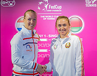 The Hague, The Netherlands, Februari 6, 2020,    Sportcampus, FedCup  Netherlands -  Balarus, Draw, First match on friday: Kiki Bertens (NED) (L) vs Aliaksandra Sasnovich (BLR)<br /> Photo: Tennisimages/Henk Koster