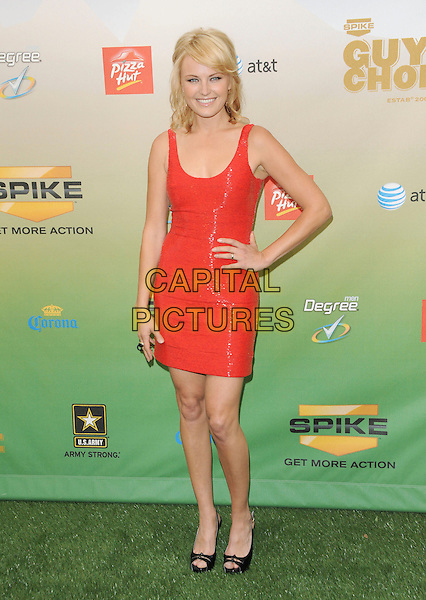 MALIN AKERMAN .at The 2009 Spike TV Guy's Choice Awards held at Sony Picture Studios in Culver City, California, May 30th 2009.                                                                     .full length red dress hand on hip shiny shimmery black peep toe shoes ring .CAP/DVS.©Debbie VanStory/RockinExposures/Capital Pictures