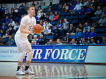February 15, 2017:  Air Force guard, Jacob Van #15, is on the line to take a technical foul free throw during the NCAA basketball game between the University of Nevada Wolfpack and the Air Force Academy Falcons, Clune Arena, U.S. Air Force Academy, Colorado Springs, Colorado.  Nevada defeats Air Force 78-59.