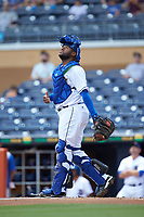 Durham Bulls catcher Ricardo Dashenko (30) on defense against the Columbus Clippers at Durham Bulls Athletic Park on June 1, 2019 in Durham, North Carolina. The Bulls defeated the Clippers 11-5 in game one of a doubleheader. (Brian Westerholt/Four Seam Images)