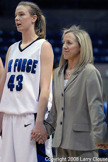 1 March 2008:  Air Force center, Kim Kreke (43) and Head Coach, Ardie McInelly following the Falcon's 54-49 Mountain West Conference victory over the BYU Cougars at Clune Arena, U.S. Air Force Academy, Colorado Springs, Colorado.