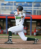 Justin Jacobs of the Jamestown Jammers, Class-A affiliate of the Florida Marlins, during New York-Penn League baseball action.  Photo by Mike Janes/Four Seam Images