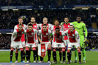 Ajax Team Photo. Back row (left to right) Joel Veltman, Daley Blind, Donny van de Beek, David Neres, Noussair Mazraoui, Andre Onana. Front row (left to right) Hakim Ziyech, Lisandro Martinez, Dusan Tadic, Quincy Promes and Nicolas Tagliafico during Chelsea vs AFC Ajax, UEFA Champions League Football at Stamford Bridge on 5th November 2019