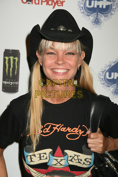 JULIE McCULLOUGH .2nd Annual Celebrity Poker Tournament Benefiting The Urban Health Institute at the Playboy Mansion, Holmby Hills, California, USA..April 28th, 2007.half length black cowboy hat top pigtails ponytails  .CAP/ADM/BP.©Byron Purvis/AdMedia/Capital Pictures