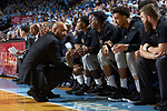 Wake Forest Demon Deacons associate head coach Randolph Childress address the bench during second half action against the North Carolina Tar Heels at the Dean Smith Center on December 30, 2017 in Chapel Hill, North Carolina.  The Tar Heels defeated the Demon Deacons 73-69.  (Brian Westerholt/Sports On Film)