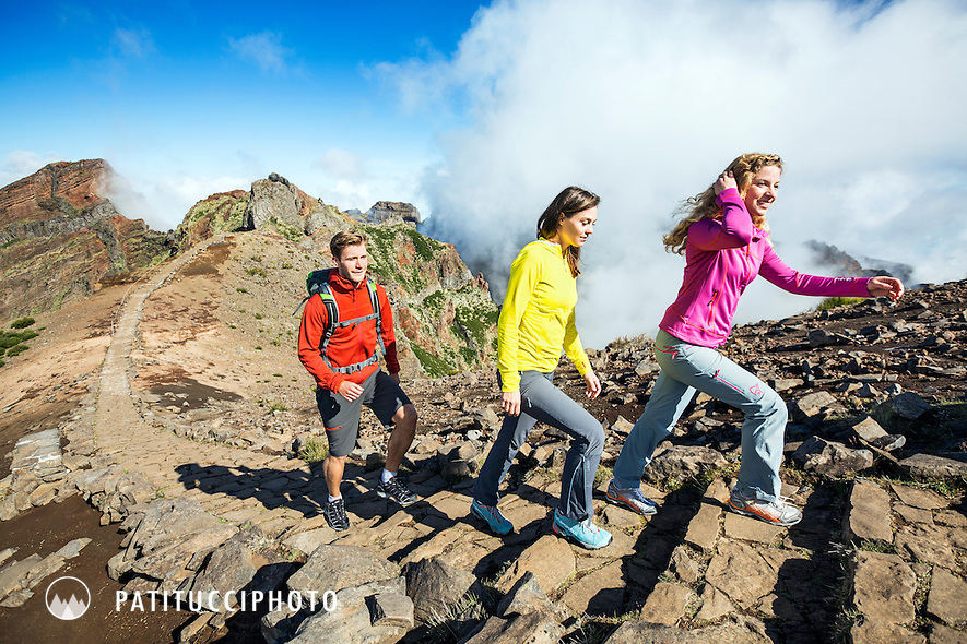 Hikers on a day trip at Pico do Arieiro, Madeira Island's highest peak