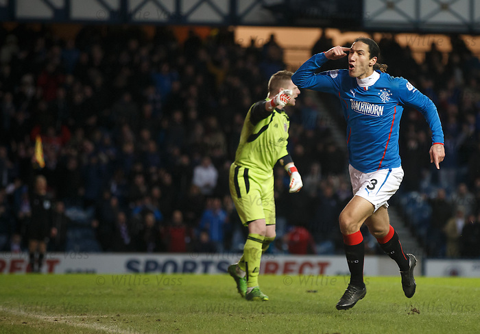 Bilel Mohsni celebrates after poking the ball in the net but the linseman is already flagging