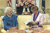 "Mrs. Barbara Bush presents a copy of ""Millie's Book as Dictated to Barbara Bush"" to Her Royal Highness Princess Diana during this morning's tea in the private residence of the White House in Washington, DC on October 5, 1990.<br /> Mandatory Credit: Carol T. Powers / White House via CNP"