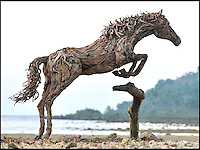 BNPS.co.uk (01202 558833)<br /> Pic: JamesDoran-Webb/BNPS<br /> <br /> ****Please use full byline****<br /> <br /> Jumping horse on Cebu beach in the Philippines.<br /> <br /> These majestic horses galloping along a white sand beach may look real - but in fact they're made from thousands of pieces of driftwood salvaged from beach.<br /> <br /> The life-size sculptures are the work of British master craftsman James Doran-Webb and took a painstaking six months to assemble.<br /> <br /> They stand at around 6ft tall - or 16 hands in horse terms - and each is made from 400 pieces of driftwood of varying sizes built around a stainless steel skeleton.<br /> <br /> They weigh half a tonne each once complete and can take the weight of five people.<br /> <br /> James cleverly makes them with moveable limbs so they can be arranged into lifelike poses.<br /> <br /> The intricate trio of horses were constructed for the Gardens by the Bay in Singapore, a nature park similar to Cornwall's Eden project.