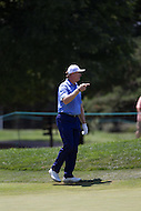Gainesville, VA - August 2, 2015:   Ernie Els points to where is ball is on hole 5  at the Robert Trent Jones Golf Club in Gainesville, VA. August 2, 2015.  (Photo by Elliott Brown/Media Images International)
