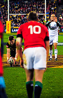 Jordie Barrett prepares to convert Vaea Fifita's try as referee Romain Poite gestures towards Dan Biggar during the 2017 DHL Lions Series rugby match between the Hurricanes and British & Irish Lions at Westpac Stadium in Wellington, New Zealand on Tuesday, 27 June 2017. Photo: Dave Lintott / lintottphoto.co.nz
