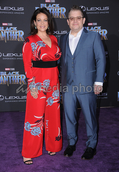 "29 January 2018 - Hollywood, California - Meredith Salenger, Paaton Oswalt. Marvel Studios' ""Black Panther"" World Premiere held at Dolby Theater. Photo Credit: Birdie Thompson/AdMedia"