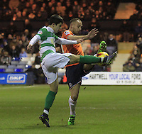 Jake Howells of Luton Town gets a foot to the ball during the Sky Bet League 2 match between Luton Town and Yeovil Town at Kenilworth Road, Luton, England on 2 February 2016. Photo by Liam Smith.