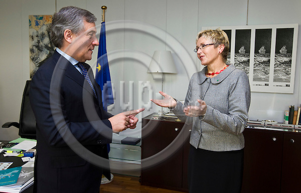 BRUSSELS - BELGIUM - 13 NOVEMBER 2008 -- EU-Commissioner Antonio TAJANI (le), Vicepresident of the European Commission and in charge of Transport meeting with Liv Signe NAVARSETE, Minister of Transport and Communications of Norway -- PHOTO: JUHA ROININEN / EUP-IMAGES