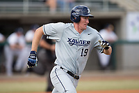 Joe Gellenbeck (19) of the Xavier Musketeers hustles down the first base line against the Penn State Nittany Lions during game one of a double-header at Coleman Field at the USA Baseball National Training Center on February 25, 2017 in Cary, North Carolina. The Musketeers defeated the Nittany Lions 10-4.  (Brian Westerholt/Four Seam Images)