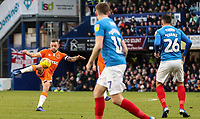 Blackpool's Jay Spearing shoots<br /> <br /> Photographer Andrew Kearns/CameraSport<br /> <br /> The EFL Sky Bet League One - Portsmouth v Blackpool - Saturday 12th January 2019 - Fratton Park - Portsmouth<br /> <br /> World Copyright &copy; 2019 CameraSport. All rights reserved. 43 Linden Ave. Countesthorpe. Leicester. England. LE8 5PG - Tel: +44 (0) 116 277 4147 - admin@camerasport.com - www.camerasport.com