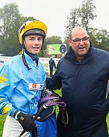 Jockey William Cox and trainer Roger Teal in the Winner's enclosure after winning Winner of The Champagne Joseph Perrier Confined Handicap with Blistering Bob during Horse Racing at Salisbury Racecourse on 14th August 2019