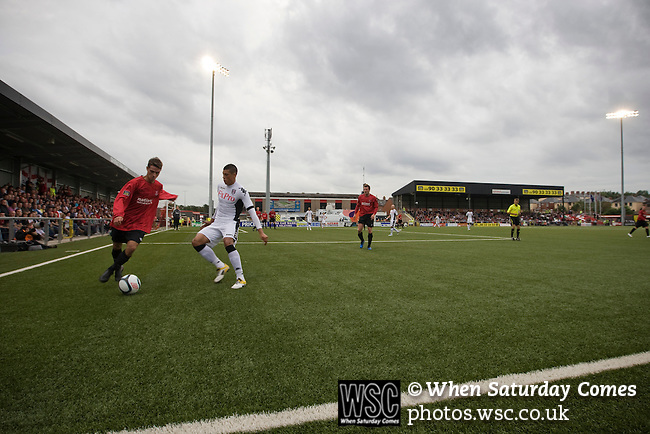 Crusaders 1 Fulham 3, 16/07/2011. Seaview Park, Europa League 2nd qualifying round first leg. Action from the first half as Northern Irish club Crusaders take on Fulham in a UEFA Europa League 2nd qualifying round, first leg match at Seaview, Belfast. The visitors from England won by 3 goals to 1 before a crowd of 3011. Photo by Colin McPherson.