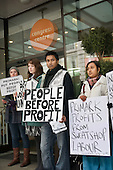Members of No Sweat picket Primark AGM being held at the TUC's Congress House, London.