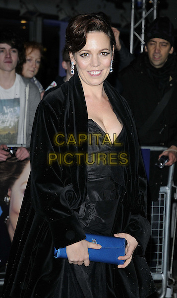 Olivia Colman.'The Iron Lady' European Film Premiere at BFI cinema, Southbank, London, England..4th January 2012.half length black jacket dress blue clutch bag.CAP/CAN.©Can Nguyen/Capital Pictures.