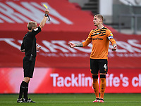 8th July 2020; Ashton Gate Stadium, Bristol, England; English Football League Championship Football, Bristol City versus Hull City; Jordy de Wijs of Hull City receives a yellow card from the referee