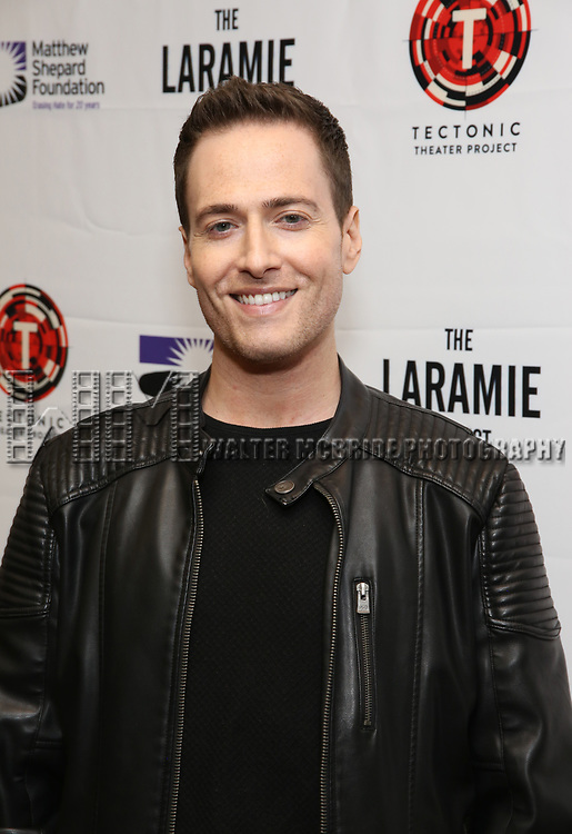 """Randy Rainbow attends the cast photo call for """"Laramie: A Legacy""""  on September 24, 2018 at The Gerald W. Lynch Theater at John Jay College in New York City."""