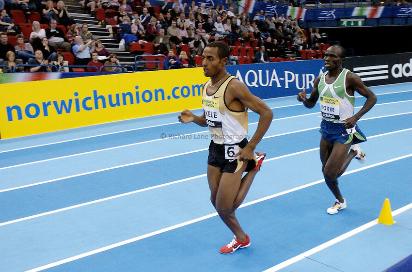 Photo: Richard Lane..Norwich Union Indoor Grand Prix, Birmingham. 17/02/2007. .Ethiopia's Kenenisa Bekele on his way to breaking the world record for the men's 2000m in a time of 4 minutes 49.99 seconds.
