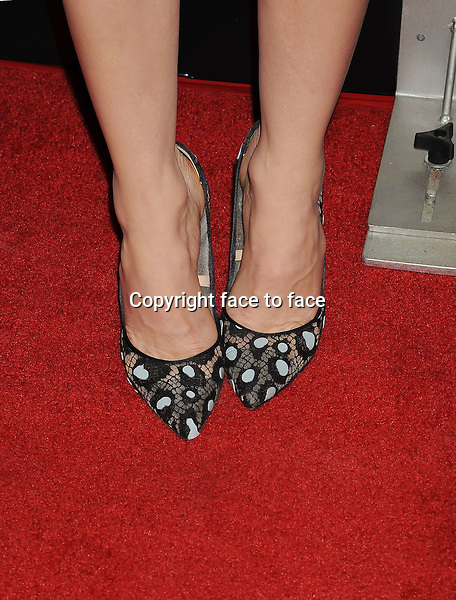 HOLLYWOOD, CA- DECEMBER 04: Actress Jessica Biel (shoe detail) at the 'The Truth About Emanuel' - Los Angeles Premiere - Arrivals at ArcLight Hollywood on December 4, 2013 in Hollywood, California.<br />