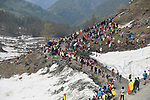 Fans line the Colle delle Finestre during Stage 19 of the 2018 Giro d'Italia, running 185km from Venaria Reale to Bardonecchia featuring the Cima Coppi of this Giro, the highest climb on the Colle delle Finestre with its gravel roads, before finishing on the final climb of the Jafferau, Italy. 25th May 2018.<br /> Picture: LaPresse/Fabio Ferrari | Cyclefile<br /> <br /> <br /> All photos usage must carry mandatory copyright credit (&copy; Cyclefile | LaPresse/Fabio Ferrari)