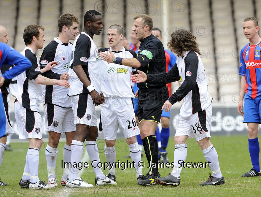 05/04/2008    Copyright Pic: James Stewart.File Name : sct_jspa06_gretna_v_inverness.REF MIKE TUMILTY CHANGES HIS MIND AND AWARDS A FREE KICK AFTER FIRST AWARDING A PENALTY....James Stewart Photo Agency 19 Carronlea Drive, Falkirk. FK2 8DN      Vat Reg No. 607 6932 25.Studio      : +44 (0)1324 611191 .Mobile      : +44 (0)7721 416997.E-mail  :  jim@jspa.co.uk.If you require further information then contact Jim Stewart on any of the numbers above........