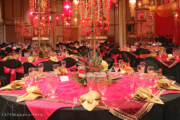 Derek Lee design for Wedding reception decor,Trinidad, East Indian style wedding, pink, orange, black decor, ballroom layout