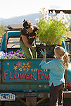 Two young women load their landscaping truck in Wilson, Wyoming.