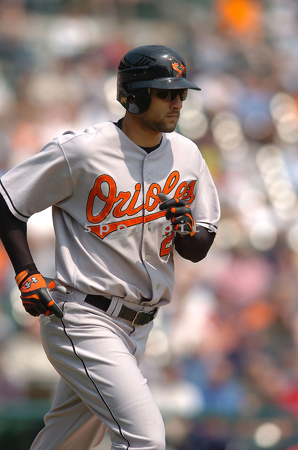 NICK MARKAKIS, of the Baltimore Orioles , in action during the Orioles game against the Detroit Tigers on May 2, 2007 in Detroit, Tigers...Tigers win 5-4...Chris Bernacchi/ SportPics..