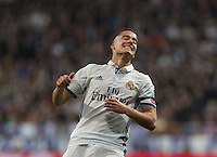 Real Madrid's Spanish forward Lucas Vazquez lamenting during the UEFA Champions League match between Real Madrid and Borussia Dortmund at the Santiago Bernabeu Stadium in Madrid, Tuesday, December 7, 2016.