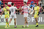 Harry Glover and Will Glover shakes hands after winning the match Australia vs England, the Bronze Final of Day 2 of the HSBC Singapore Rugby Sevens as part of the World Rugby HSBC World Rugby Sevens Series 2016-17 at the National Stadium on 16 April 2017 in Singapore. Photo by Victor Fraile / Power Sport Images