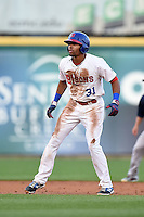 Buffalo Bisons outfielder Dalton Pompey (31) leads off second during a game against the Pawtucket Red Sox on August 23, 2014 at Coca-Cola Field in Buffalo, New  York.  Buffalo defeated Pawtucket 15-2.  (Mike Janes/Four Seam Images)