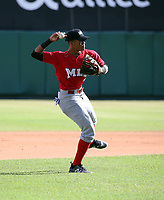 Noelvi Marte participates in the MLB International Showcase at Estadio Quisqeya on February 22-23, 2017 in Santo Domingo, Dominican Republic.